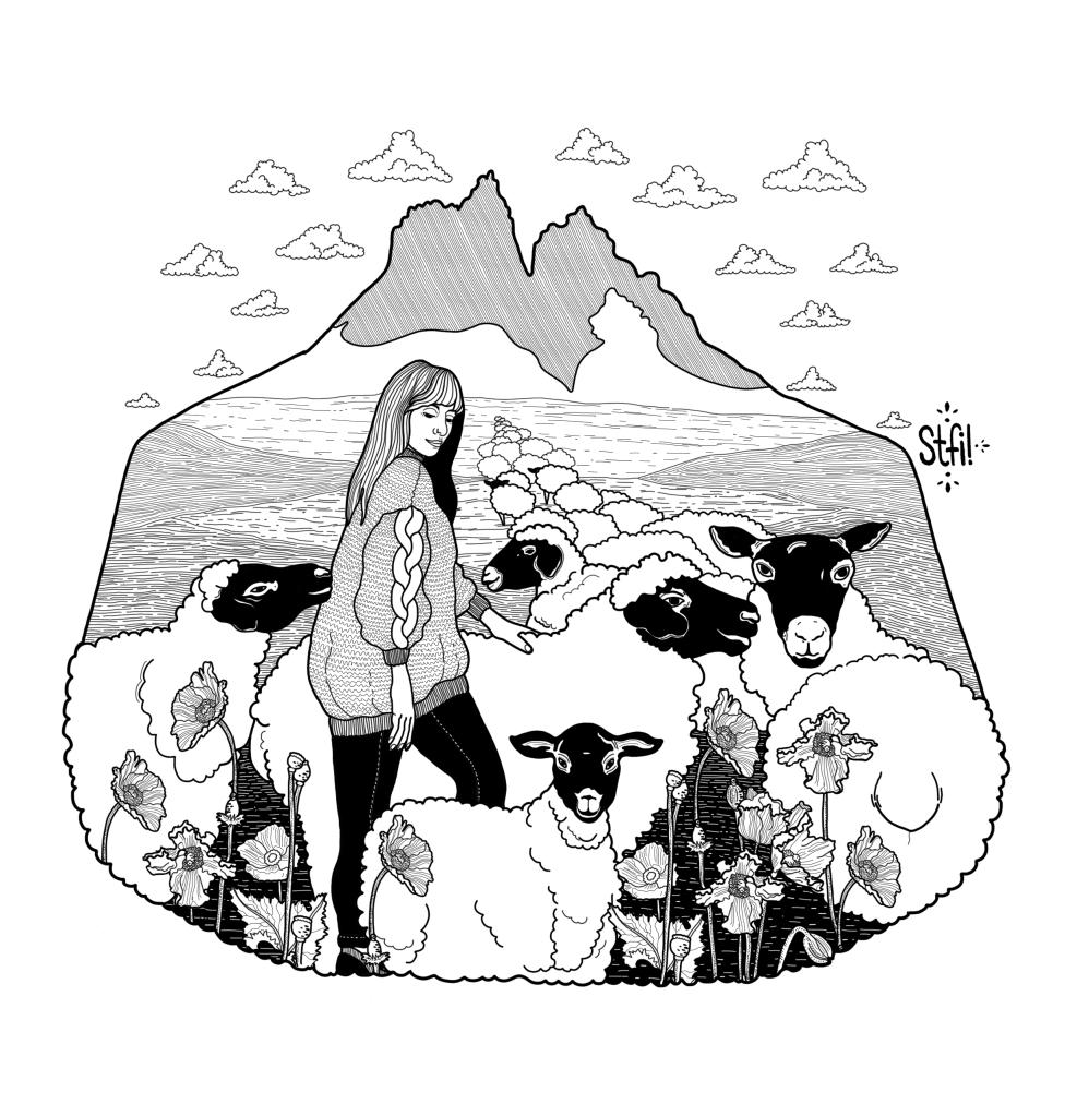 lana natural x Stfi! blanco y negro